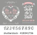 wedding floral invitation cards....   Shutterstock .eps vector #418341736