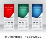 roll up banner stand template...   Shutterstock .eps vector #418342522