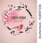 pink bird on cherry branch   Shutterstock .eps vector #418347106