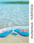 top view on mobile phone flip... | Shutterstock . vector #418353226