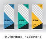 roll up banner stand template... | Shutterstock .eps vector #418354546