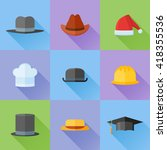 set of hats flat icons with... | Shutterstock .eps vector #418355536