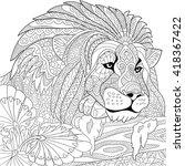 zentangle stylized cartoon lion ... | Shutterstock .eps vector #418367422