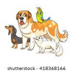 two dogs  a cat and a parrot... | Shutterstock .eps vector #418368166