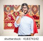 crazy hero happy expression | Shutterstock . vector #418374142