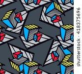 urban seamless pattern. vector... | Shutterstock .eps vector #418375696