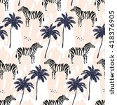 palm trees silhouette and zebra ... | Shutterstock .eps vector #418376905