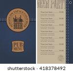 menu for the pub in a retro... | Shutterstock .eps vector #418378492