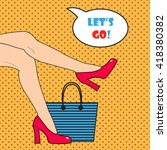 Pop Art Woman\'s Legs. Vector...