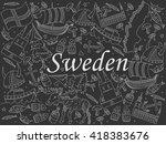 raster line art doodle set of... | Shutterstock . vector #418383676