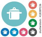 flat cooking icon set on round...