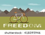 mountains with green field ... | Shutterstock .eps vector #418395946