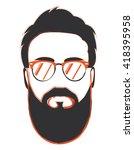 hipster portrait with orange... | Shutterstock .eps vector #418395958