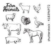 farm animals  cow  pig  chicken ... | Shutterstock . vector #418396972