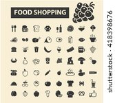 food shopping icons  | Shutterstock .eps vector #418398676