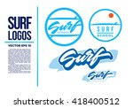 surf logo wave vector... | Shutterstock .eps vector #418400512