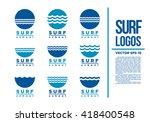 surf logo blue wave vector...