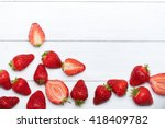strawberry fruits at the bottom ... | Shutterstock . vector #418409782
