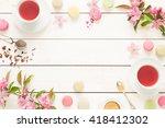 pink fruity tea and pastel...   Shutterstock . vector #418412302