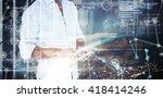 handsome man using smart phone... | Shutterstock . vector #418414246