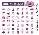 online video  media icons  | Shutterstock .eps vector #418425286