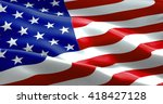 closeup of american usa flag ... | Shutterstock . vector #418427128