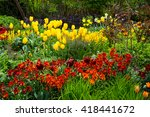 Flower Bed Featuring Tulips An...