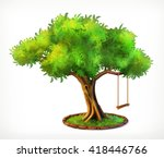 Green Tree And Swing  Vector...