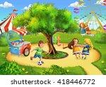 park playground. playing kids....