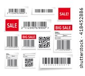 barcode label and sale vector... | Shutterstock .eps vector #418452886