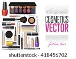 makeup cosmetics tools... | Shutterstock .eps vector #418456702