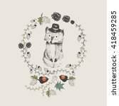 fox gentleman in hat/hand drawn vector illustration of cute fox/ wreath of leafs/can be used for kid's or baby's shirt design/fashion print design/fashion graphic/t-shirt/kids wear