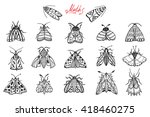 night moths. hand drawn doodle... | Shutterstock .eps vector #418460275