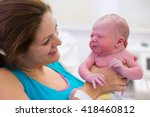 mother giving birth to a baby.... | Shutterstock . vector #418460812