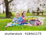 little children eating lunch... | Shutterstock . vector #418461175
