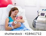 mother giving birth to a baby.... | Shutterstock . vector #418461712