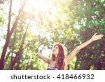 young adult woman stretching... | Shutterstock . vector #418466932