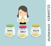 businesswoman saving money for... | Shutterstock .eps vector #418469725