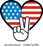 peace sign hand gesture over... | Shutterstock .eps vector #418471096