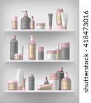 realistic cosmetic bottle mock... | Shutterstock .eps vector #418473016