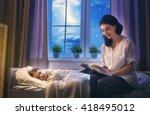 family reading bedtime. pretty...   Shutterstock . vector #418495012