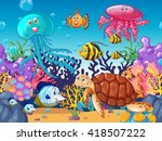 scene with sea animals under... | Shutterstock .eps vector #418507222