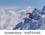 snowboard rider jumping on... | Shutterstock . vector #418514185
