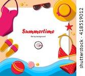 summertime flat lay background. ... | Shutterstock .eps vector #418519012
