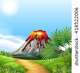 scene with volcano eruption... | Shutterstock .eps vector #418522006