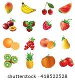 mango  banana  cherry ... | Shutterstock .eps vector #418522528