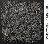 cartoon hand drawn doodles... | Shutterstock .eps vector #418538488