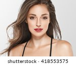 beautiful woman face portrait...   Shutterstock . vector #418553575