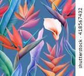 seamless tropical flower  plant ... | Shutterstock . vector #418567432