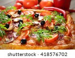 rectangle delicious pizza and... | Shutterstock . vector #418576702